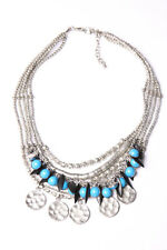 Multi-Layer Necklace Ancient Silver Color Circular Plates,Blue&Black Beads(T576)