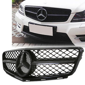 MATTE BLACK FRONT GRILL GRILLE FOR MERCEDES C CLASS W204 AMG C63 STYLE 2012-14
