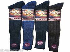 6 Pairs Mens Dark Long Thick Wool Socks Winter Warm Walking Hiking Ski Boot Work