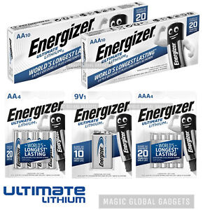 ENERGIZER AA,AAA,9V ULTIMATE LITHIUM BATTERIES 1.5v LR6 L91 10 PACK 20 YEARS EXP