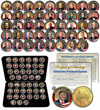 ALL 45 United States PRESIDENTS Colorized DC Quarters Coin Set 24K GOLD with Box