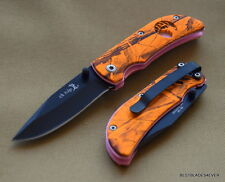 ORANGE CAMO ELK RIDGE PINK INLAY FOLDING KNIFE - 3 INCH CLOSED WITH CLIP 440