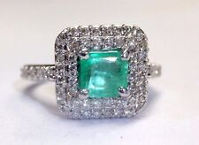 Fine Colombian Emerald and Diamond Double Halo Ring Size 5.75