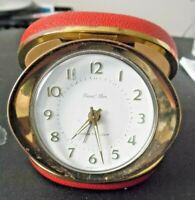 "Vintage Westclox ""Travel Ben"" Alarm Clock Mechanical Red Folding Case  Germany"