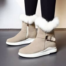 Women's Fashion Buckle Decoration Zipper Warm Fur Lining Casual Short Boots