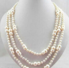 "Handmade Long 10-15mm white baroque double freshwater pearl necklaces 54""'"