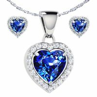 "Heart Shape Blue Sapphire Pendant & Earring .925 Sterling Silver w/ 18"" Chain"