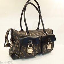 Dooney & Bourke signature handbag purse Barrel Gray Tan CARGO