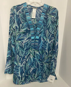 La Blanca Flyaway Blue Leaves Tunic Beach Cover Up Size XS NWT $104