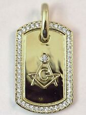 CZ Masonic Solid Pendant 14k Gold plated over Sterling Silver Freemasons 2 Inch