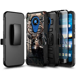 For AT&T Radiant Max Case Holster Belt Clip Phone Cover + Glass Screen Protector