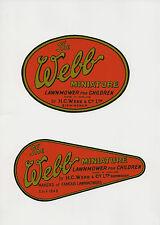 Webb Miniature Vintage Children's Mower Decals