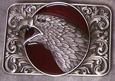 Pewter Belt Buckle animal bird Eagle Head red NEW
