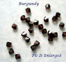 48 BURGUNDY SWAROVSKI CRYSTAL 5301 BICONE BEADS 4MM