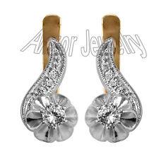 Genuine White Sapphire Earrings Russian Jewelry in Silver 925 #E1069