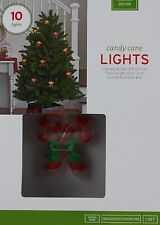 10 Candy Cane String Lights Green Wire Lighted length 9 ft Indoor Outdoor Use