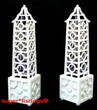 Dept. 56 Seasons Bay Lattice Obelisk Set of 2 Retired 53376 Free Shipping