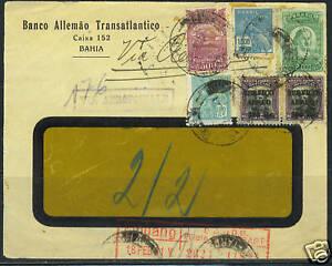 """BRAZIL 1931 REGISTERED WINDOW COVER """"BAHIA"""" TO STUTTGAR"""