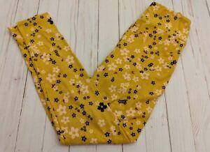 New LuLaRoe OS Leggings Mustard Yellow with Flowers One Size