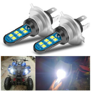 2X H4 9003 HB2 LED Motorcycle Headlight Hi/Low Beam Bulbs White 6000K Driving