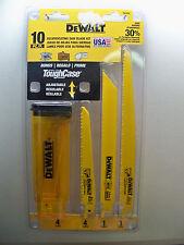 NEW DEWALT DW4898 10 WOOD METAL PVC RECIPROCATING SAW BLADE W/CASE 1ST CLS S&H