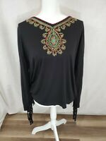 Women's Krista Lee Long Sleeve Embroidered Neckline Top Size Large