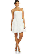 Adrianna Papell 'Hailey' ~ White Tulle Flare Rosette Cocktail Dress 6 NEW $189