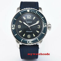 45mm Corgeut black blue dial mechanical Luminous Automatic Vintage mens watch
