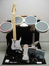 Nintendo Wii Rock Band Drum Guitar Dongle Microphone 2 Games Ex Condition