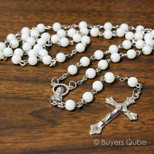 """Beautiful White Round Glass Beads Rosary 20"""" Length w/ Enlarge Virgin Mary Medal"""