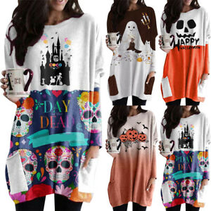 Womens Baggy Tops Pockets Loose Shift Halloween Party Ladies Casual Mini Dress