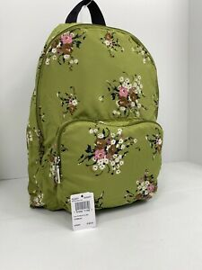 New Coach Backpack Floral Packable Nylon Bag Zip F27977 Green B03