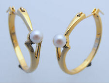 Pearl Yellow Gold Plated Hoop Fashion Earrings