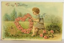 PostCard To My Valentine Floral Angel Germany Posted Stamped 2-1?-1913 Vintage
