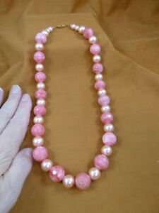 "v465-5) 20"" long Pink Rhodochrosite gemstone + glass pink pearl beaded Necklace"