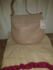Tory Burch Stacked Logo Light Oak Hobo Bag Purse