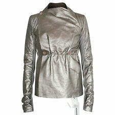 RICK OWENS $2,415 silver metallic distressed  lamb leather biker jacket 40 NEW