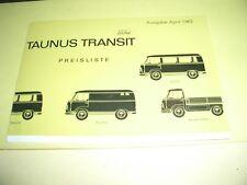 Prospekt Sales Brochure Ford Taunus Transit Preisliste Kastenwagen