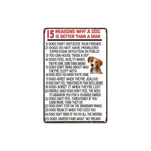 Metal Tin Sign reasons dog better than a man Decor Bar Pub Home Vintage Retro