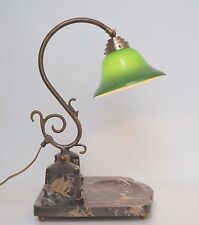 Unikat Art Nouveau Bankerlampe Marmor Bankerleuchte Messing Schreibtischlampe