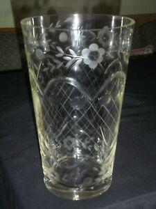 Large Heavy Vintage Etched and Cut Glass Vase