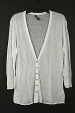Nic+Zoe Womens White Semi Sheer Button Front V Neck Long Sleeve Shirt Size XL