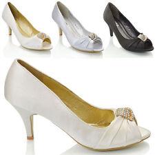 Mid Heel (1.5-3 in.) Stiletto Satin Peep Toe Shoes for Women