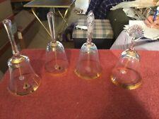 Sasaki Crystal Beautiful Sounding Gold Trim Bells #A3119