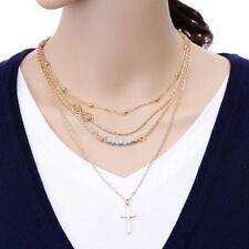 NEU Multilayer Kette 4 Reihen Infinity Kreuz Perlen gold Hippie  Trend Boho  H47