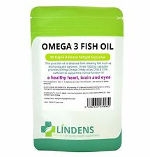 Omega 3 Fish Oil (30% DHA/EPA) 1000mg capsules 90 pack Lindens Health UK MADE