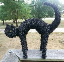 Halloween SCARY BLACK CAT ARCHING BACK YELLOW EYES Tinsel Over Wire