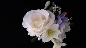 Wedding Buttonhole Ivory Rose/Lilac Freesia/Hydrangea/Trachelium & Ivory Ribbon