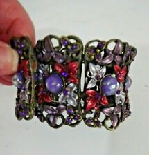 Antique Bronze Purple Fantasy Mythical Statement Wide Cuff Bracelet Heavy Metal