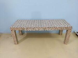 BUTLER CRISPIN WOOD & BONE INLAY CONSOLE TABLE
